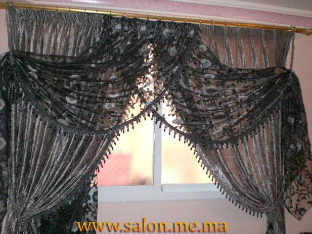 Double Rideaux marocain gris transparent - Décoration Salon Marocain ...