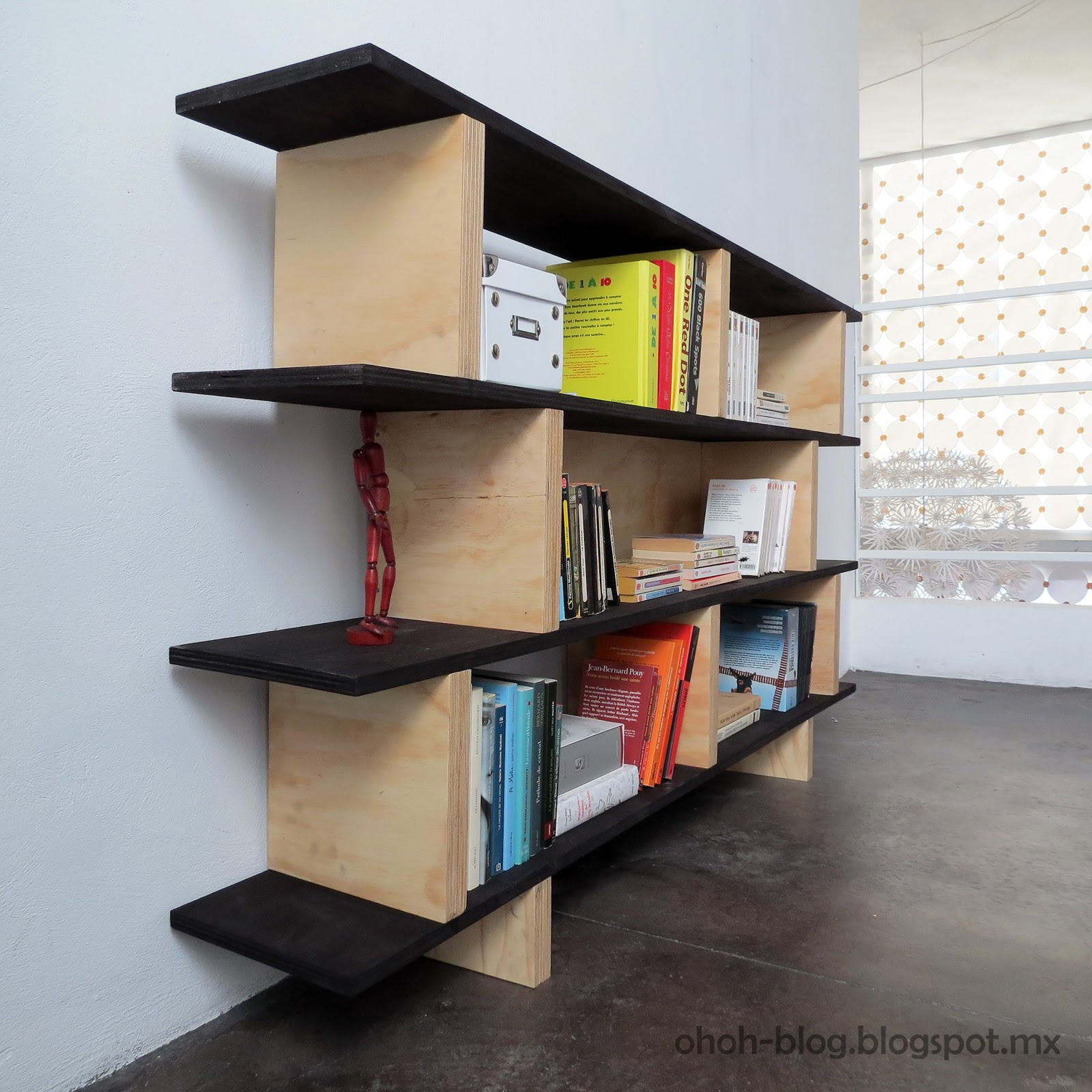 Diy bookcase librero ohoh blog for Easy to make bookcase