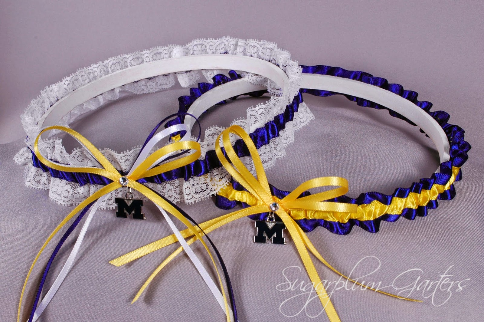 Custom Michigan Wolverines Wedding Garter Set by Sugarplum Garters