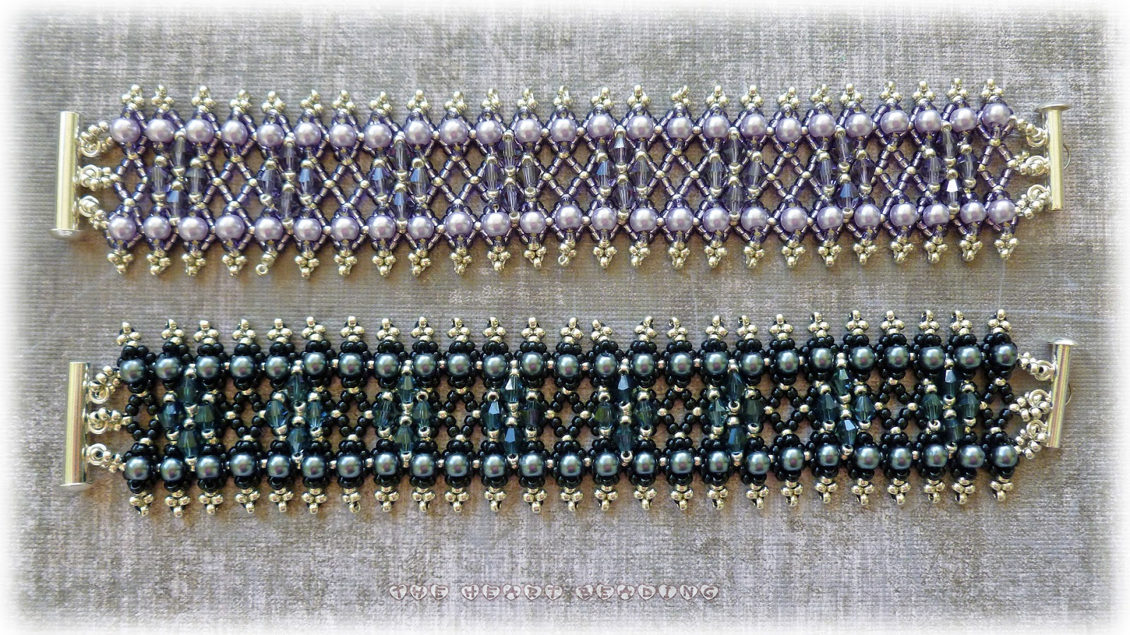 the beading netting bracelet with crystals and pearls