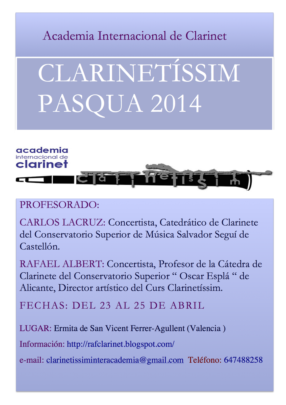 Curso Clarinetissim +Cartell+Clarineti%CC%81ssim+Pasqua+2014