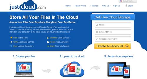 almacena tus archivos online y gratis con Just Cloud - www.dominioblogger.com