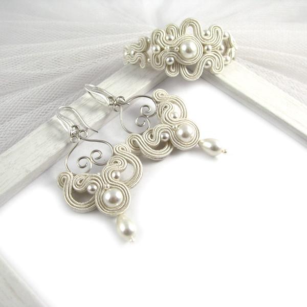 Soutache ślubny komplet z perłami