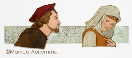 """Illustrazione di Monica Auriemma.Iacopo da lentini.""""Leggo perchè..."""" Mondadori Education"""