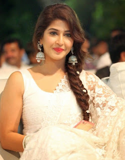 Sonarika Bhandoria in Spicy Cream Saree at Jadoogadu movie audio launch