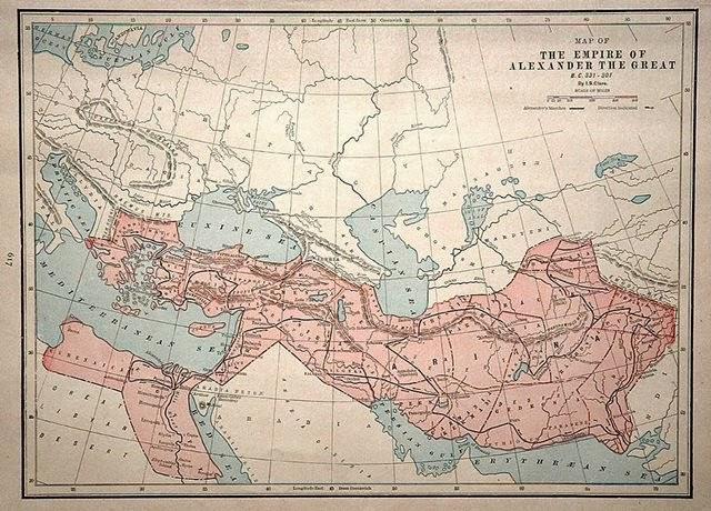 Império de Alexandre, o Grande. Ásia Menor, Península Balcã, Egito, Oriente Médio, Punjab, Danúbio