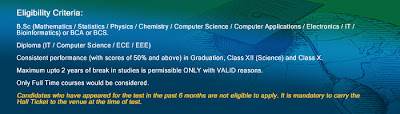 TCS Freshers Sceince Diploma Recruitment 2011-2012