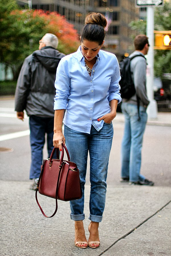 NYC Fashion Blogger; boyfriend jeans; oxford shirt; how to wear boyfriend jeans; zara pumps; michael kors selma; Michael Kors; Jcrew necklace; jcrew; current elliott