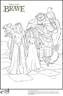 princess merida and her family training eagles coloring pages
