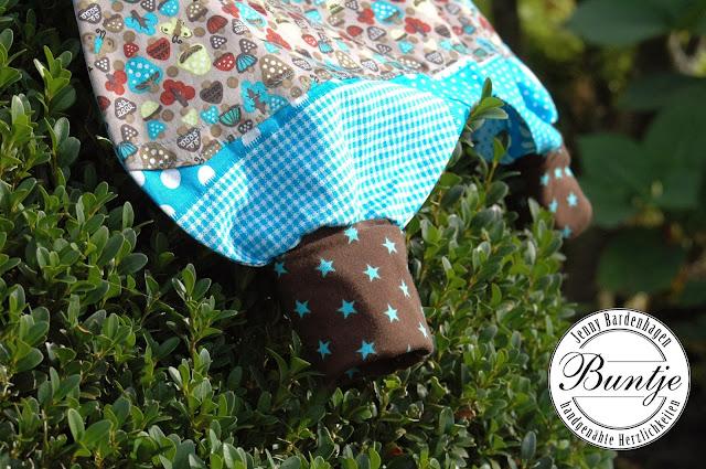 Pumphose Mitwachshose Hose Baby Bündchen Baumwolle bequem nähen handmade Buntje Dschinni Junge türkis Pilze Sterne Geschenk Geburt Taufe