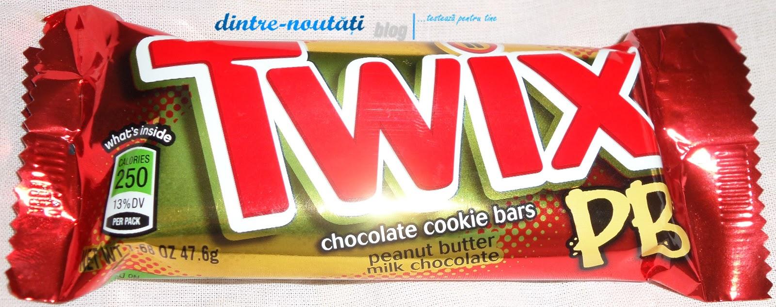 Baton de ciocolată Twix cu unt de arahide și cu lapte