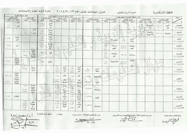مواعيد امتحانات الترم الاول 2014 محافظة الاسكندرية جميع المراحل