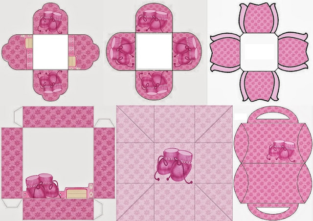 Baby Shoes in Pink: Free Printable Boxes.