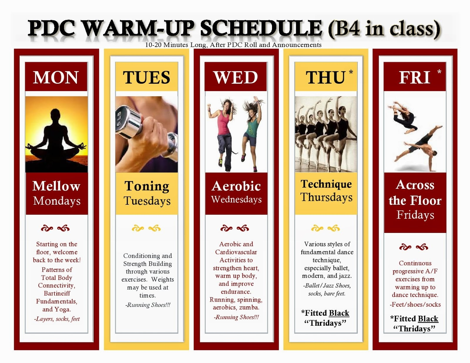 PDC Warm-Up Schedule