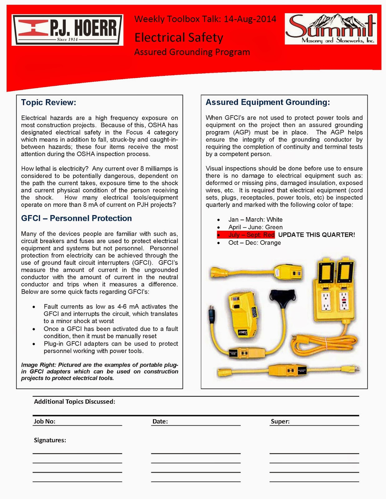 electrical safety toolbox talk pdf