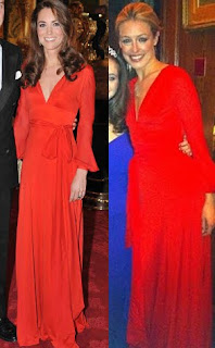 Kate Middleton and Cat Deelay wore the same red gown dress