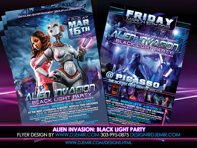 Alien Invasion Black Light Party Extreme Flyer Design