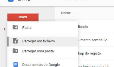 upload de arquivos para o google drive
