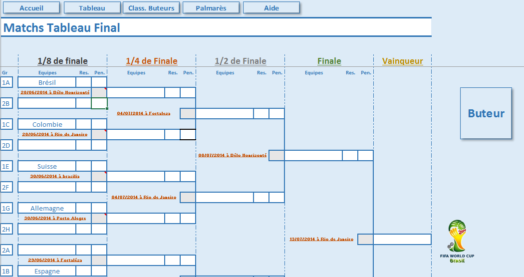 Excel ligue 1 mars 2014 - Tableau final coupe du monde 2014 ...