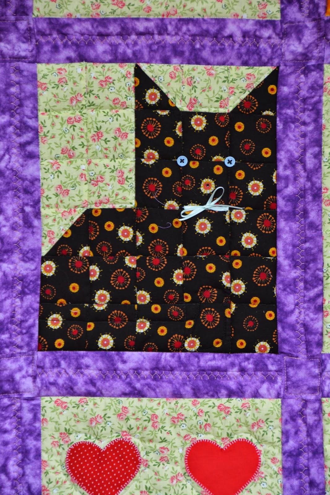Quiltlogboekcz: poezen en hartjes quilt