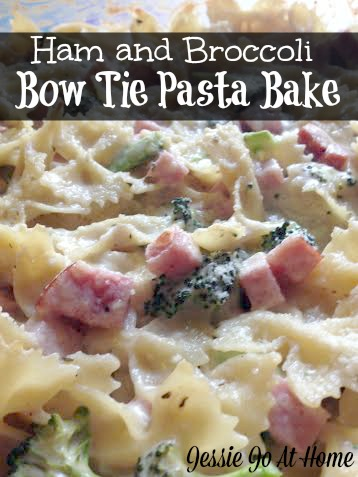 easy ham and broccoli bow tie pasta bake