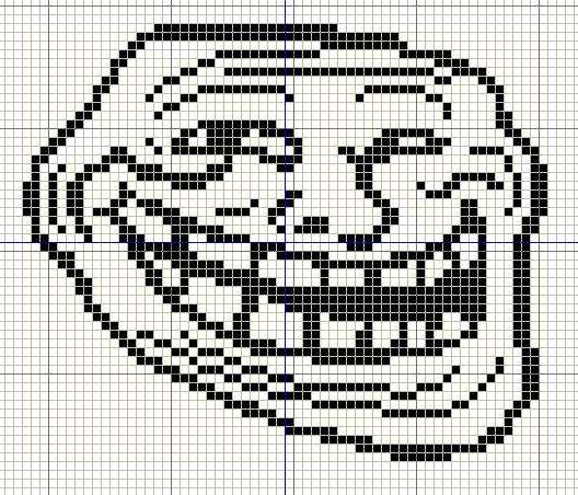 trollface+small+with+grid buzy bobbins trollface coolface problem? meme cross stitch design