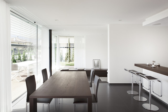 Wooden table in the dining room