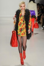 red boots, yellow, floral dress, red tote bag, new york fashion week, black, faux, fur vest