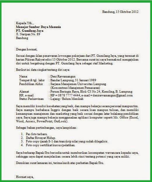 Contoh Surat Lamaran Kerja paling benar