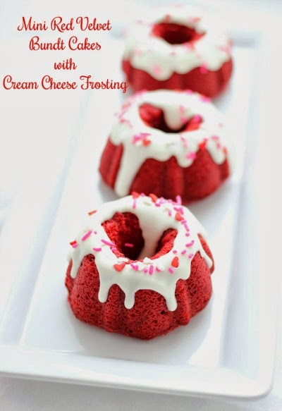 Mini Red Velvet Bundt Cakes w/ Cream Cheese Frosting