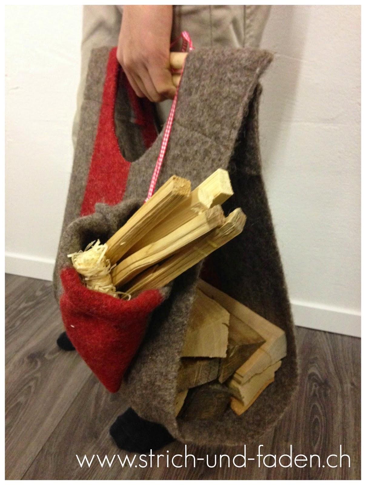 mit Strich und Faden | Kaminholztasche aus Militärdecke