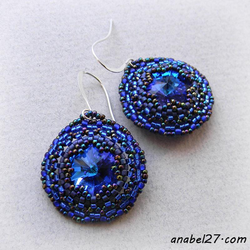 Dark blue-swarovski earrings seed bead jewelry beadwork
