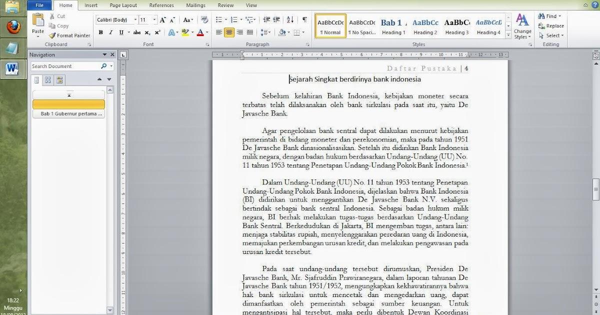 Membuat daftar isi, gambar, dan tabel di ms word ~ Chink Chonk