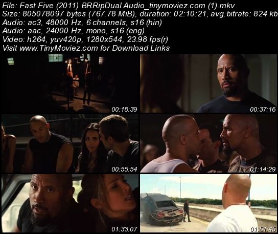 Fast Five (2011) BRRip Dual Audio 750MB