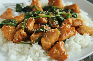 sesame chicken with spinach over rice, gluten-free, low-fructose