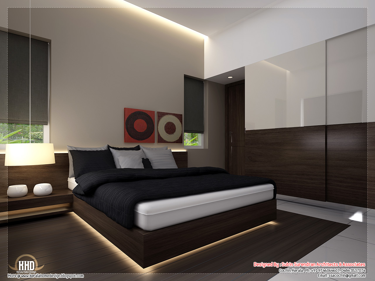Beautiful home interior designs kerala homes for Bed interior design picture