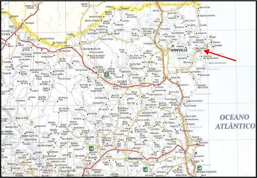 Mapa rodoviário com a localização de São Francisco do Sul