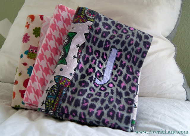 Appliqued initial on custom pillowcase
