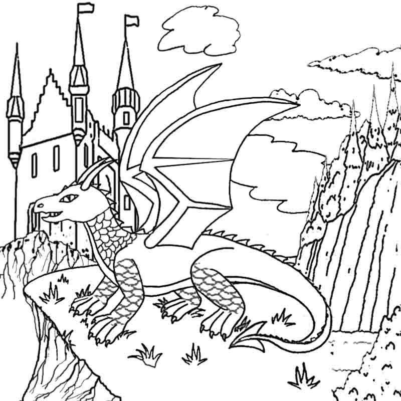 cool magic castle in the sky fire dragon coloring pictures to print and color in worksheets - Challenging Dragon Coloring Pages