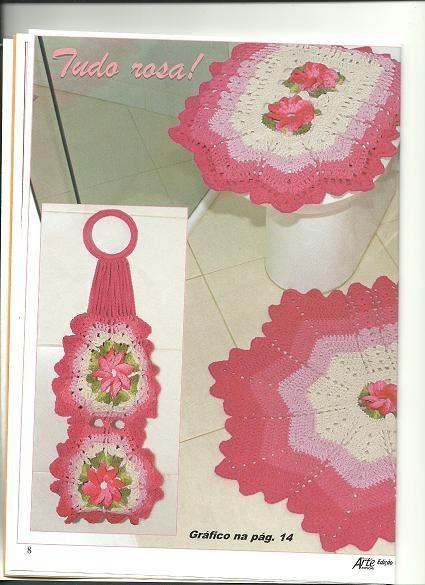 As Receitas de Crochê JOGO DE BANHEIRO DEGRADÊ EM CROCHE -> Jogo De Banheiro Simples Em Croche Com Grafico
