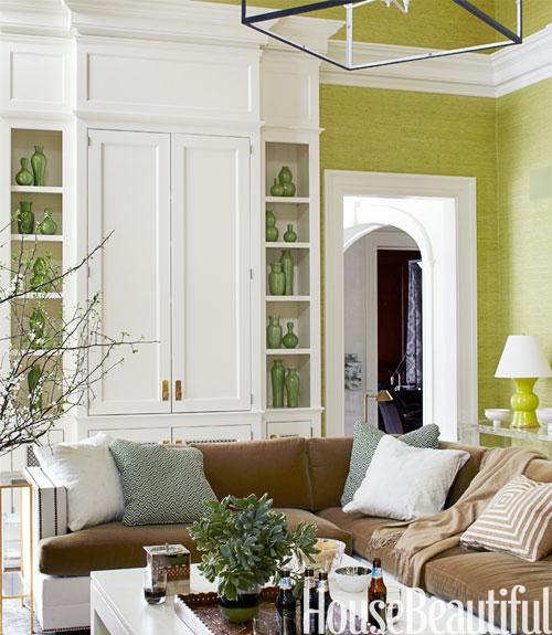 Inspirations of old going green with color - Green living room wallpaper ...