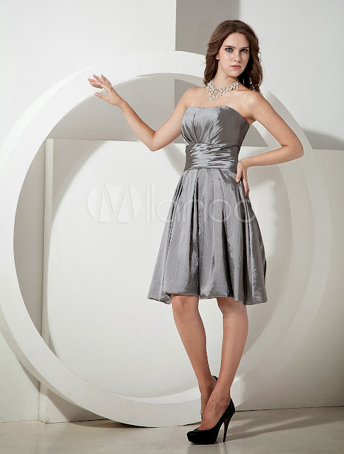 China Wholesale Clothes - Cute Silvery Taffeta Knee Length A-line Bridesmaid Dress