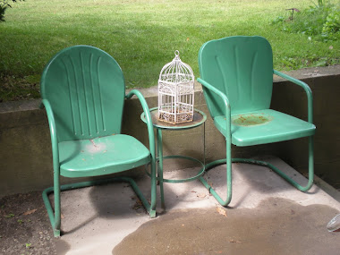 Green garden chairs