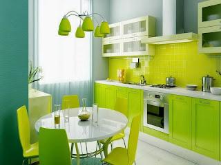 Desain Interior Dapur Minimalis Warna Hijau
