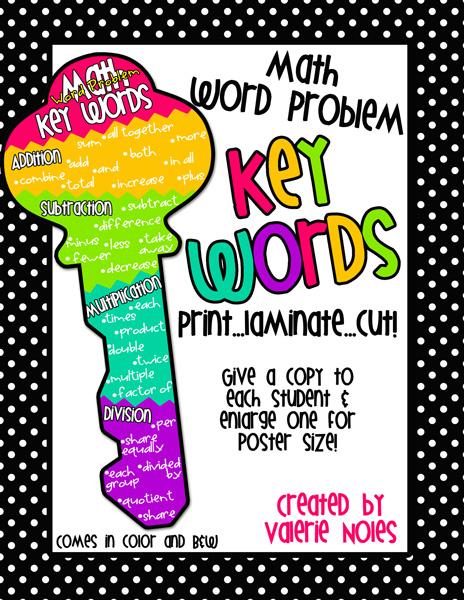 Math Word Problem KEY Words!!