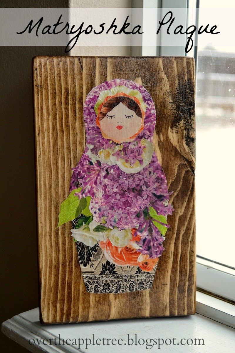 Matryoshka Plaque made with magazine cut outs, Over The Apple Tree