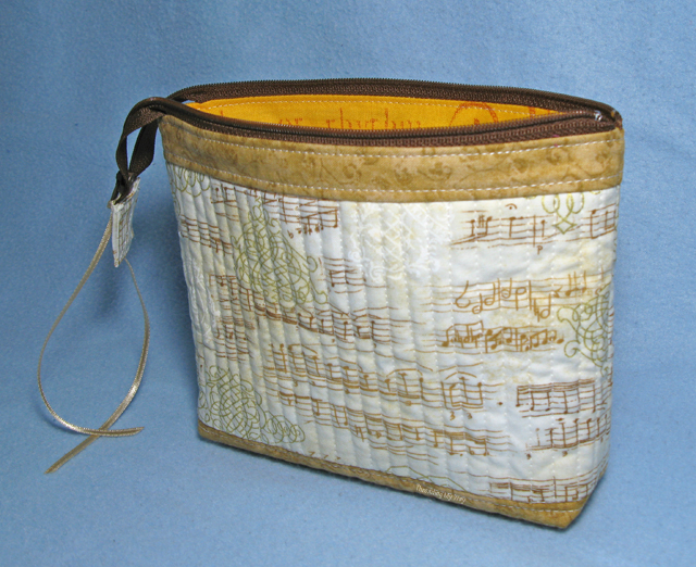 Quilt As You Go Zippered Music Pouch ~ Threading My Way