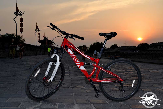 Bicicleta de alquiler en la muralla de Xian