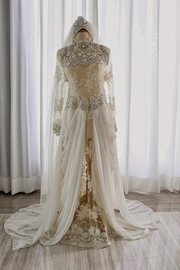 Pengantin muslim warna putih inspirasi kebaya pengantin muslimah