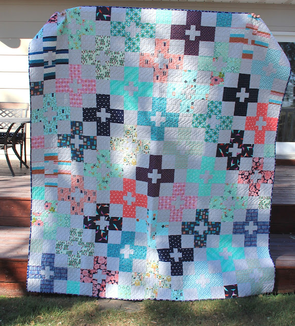 Check Plus Quilt made with Cotton and Steel fat quarters